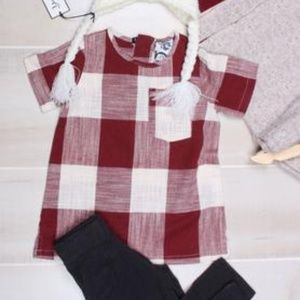 Young and Free Apparel Shirts & Tops - NWT Plaid Tunic in Oxblood Red by Young and Free